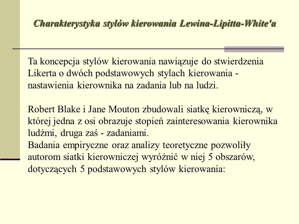 Charakterystyka stylów kierowania Lewina-Lipitta-White'a Ta koncepcja stylów kierowania nawiązuje do stwierdzenia Likerta o dwóch podstawowych stylach