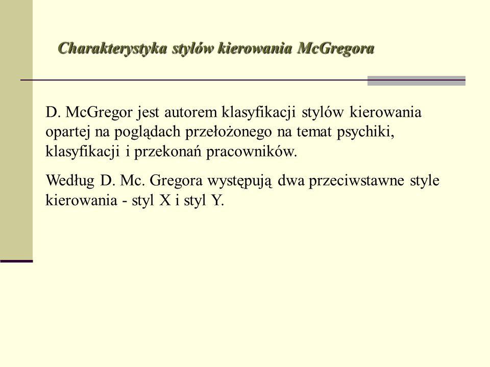 D. McGregor jest autorem klasyfikacji stylów kierowania opartej na poglądach przełożonego na temat psychiki, klasyfikacji i przekonań pracowników. Wed