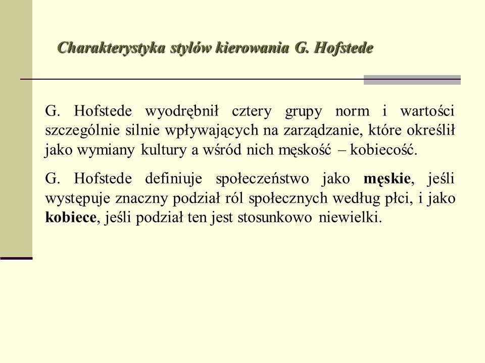 G. Hofstede wyodrębnił cztery grupy norm i wartości szczególnie silnie wpływających na zarządzanie, które określił jako wymiany kultury a wśród nich m