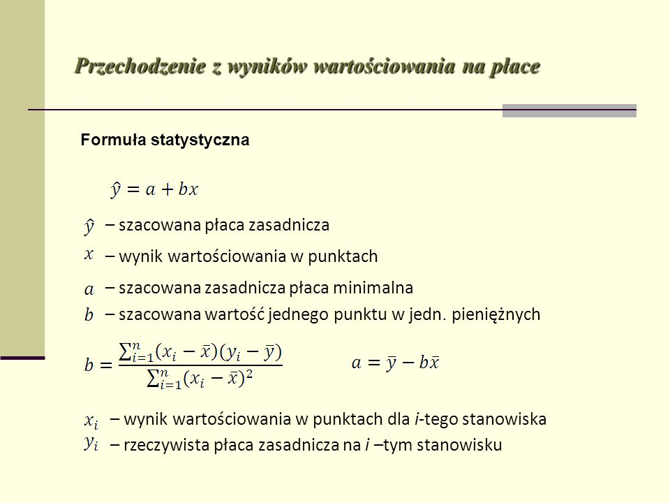Przechodzenie z wyników wartościowania na płace Formuła statystyczna – szacowana płaca zasadnicza – wynik wartościowania w punktach – szacowana zasadn