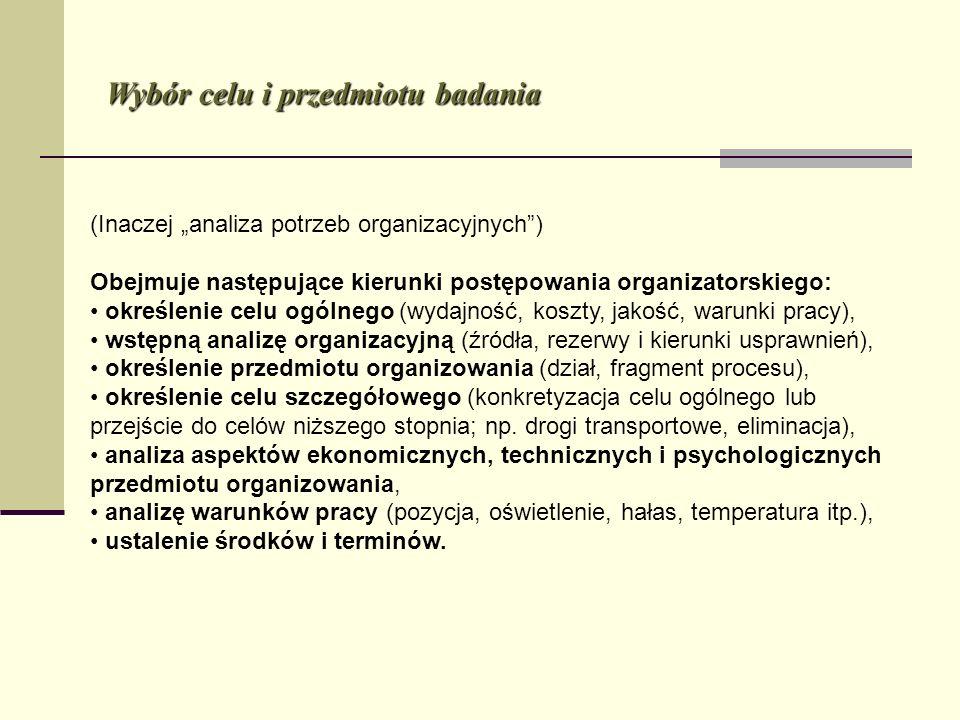 Wybór celu i przedmiotu badania (Inaczej analiza potrzeb organizacyjnych) Obejmuje następujące kierunki postępowania organizatorskiego: określenie cel