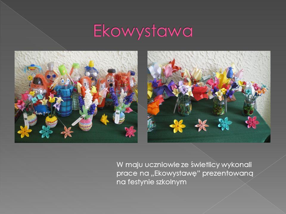 W maju uczniowie ze świetlicy wykonali prace na Ekowystawę prezentowaną na festynie szkolnym