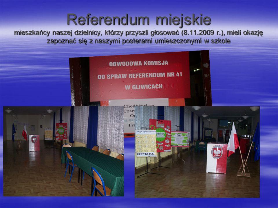 Referendum miejskie mieszkańcy naszej dzielnicy, którzy przyszli głosować (8.11.2009 r.), mieli okazję zapoznać się z naszymi posterami umieszczonymi
