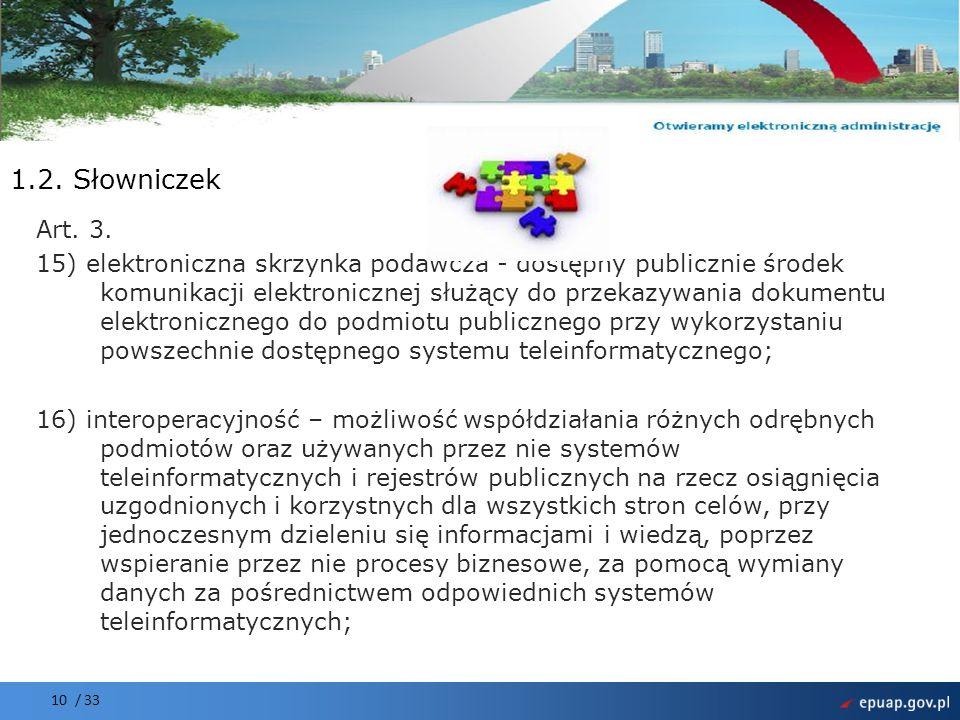 Projekt współfinansowany przez Unię Europejską Europejski Fundusz Rozwoju Regionalnego 10 / 33 1.2. Słowniczek Art. 3. 15) elektroniczna skrzynka poda