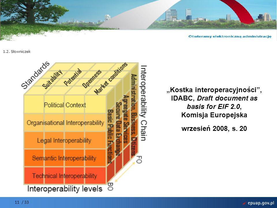 Projekt współfinansowany przez Unię Europejską Europejski Fundusz Rozwoju Regionalnego 11 / 33 1.2. Słowniczek Kostka interoperacyjności, IDABC, Draft