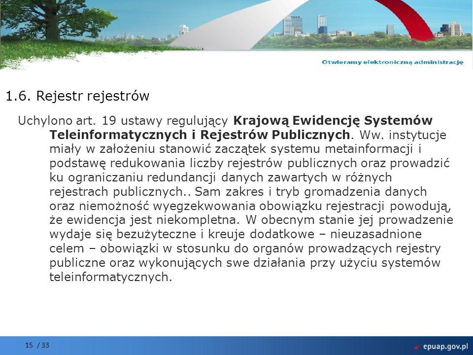 Projekt współfinansowany przez Unię Europejską Europejski Fundusz Rozwoju Regionalnego 15 / 33 1.6. Rejestr rejestrów Uchylono art. 19 ustawy regulują