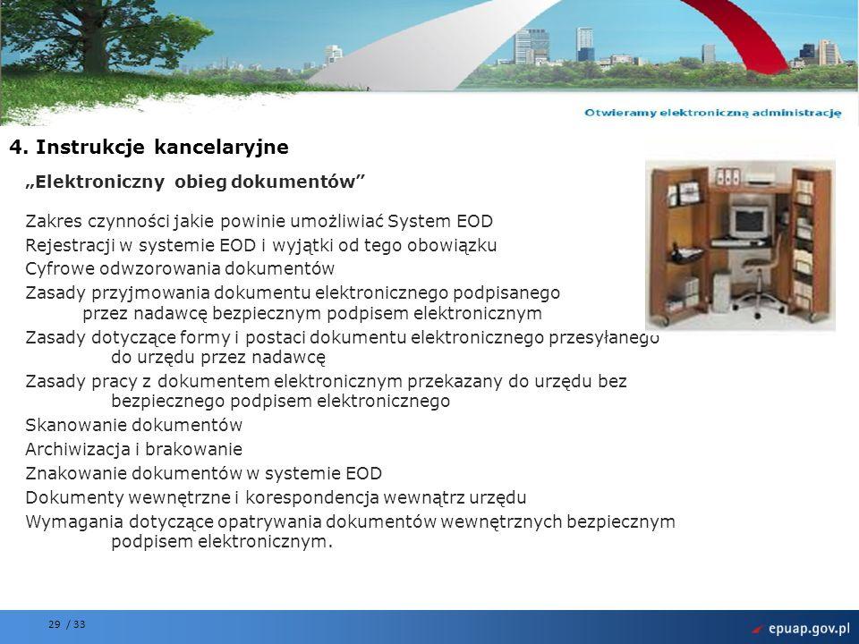 Projekt współfinansowany przez Unię Europejską Europejski Fundusz Rozwoju Regionalnego 29 / 33 Elektroniczny obieg dokumentów Zakres czynności jakie powinie umożliwiać System EOD Rejestracji w systemie EOD i wyjątki od tego obowiązku Cyfrowe odwzorowania dokumentów Zasady przyjmowania dokumentu elektronicznego podpisanego przez nadawcę bezpiecznym podpisem elektronicznym Zasady dotyczące formy i postaci dokumentu elektronicznego przesyłanego do urzędu przez nadawcę Zasady pracy z dokumentem elektronicznym przekazany do urzędu bez bezpiecznego podpisem elektronicznego Skanowanie dokumentów Archiwizacja i brakowanie Znakowanie dokumentów w systemie EOD Dokumenty wewnętrzne i korespondencja wewnątrz urzędu Wymagania dotyczące opatrywania dokumentów wewnętrznych bezpiecznym podpisem elektronicznym.