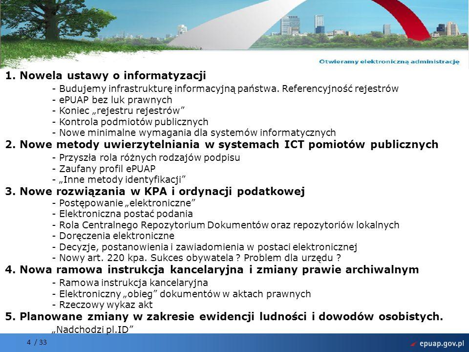 Projekt współfinansowany przez Unię Europejską Europejski Fundusz Rozwoju Regionalnego 4 / 33 1. Nowela ustawy o informatyzacji - Budujemy infrastrukt