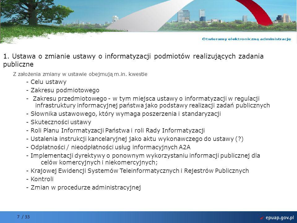 Projekt współfinansowany przez Unię Europejską Europejski Fundusz Rozwoju Regionalnego 7 / 33 1. Ustawa o zmianie ustawy o informatyzacji podmiotów re