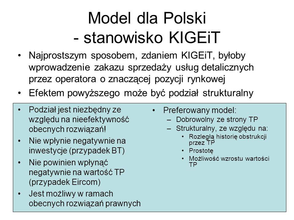 Model dla Polski - stanowisko KIGEiT Najprostszym sposobem, zdaniem KIGEiT, byłoby wprowadzenie zakazu sprzedaży usług detalicznych przez operatora o znaczącej pozycji rynkowej Efektem powyższego może być podział strukturalny Preferowany model: –Dobrowolny ze strony TP –Strukturalny, ze względu na: Rozległą historię obstrukcji przez TP Prostotę Możliwość wzrostu wartości TP Podział jest niezbędny ze względu na nieefektywność obecnych rozwiązań.