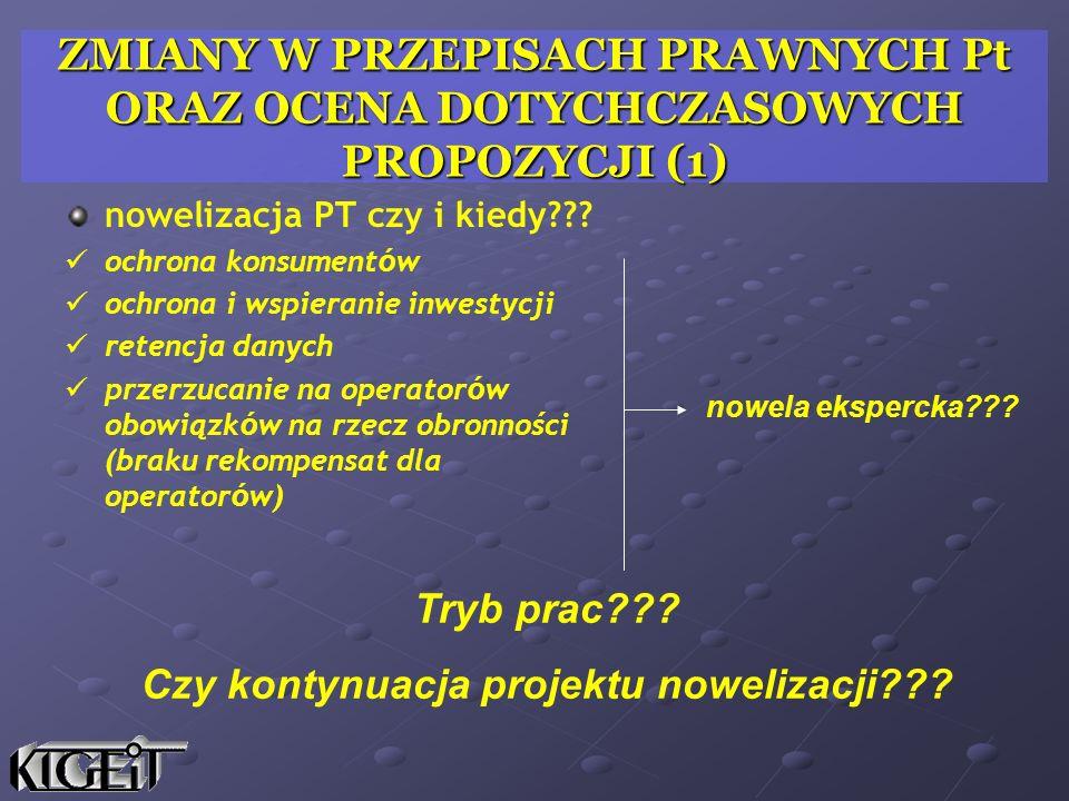 ZMIANY W PRZEPISACH PRAWNYCH Pt ORAZ OCENA DOTYCHCZASOWYCH PROPOZYCJI (1) nowelizacja PT czy i kiedy??? ochrona konsument ó w ochrona i wspieranie inw