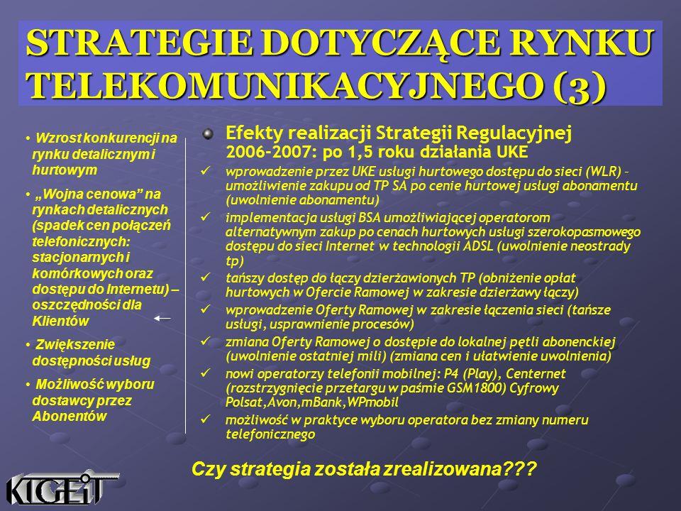 Efekty realizacji Strategii Regulacyjnej 2006-2007: po 1,5 roku działania UKE wprowadzenie przez UKE usługi hurtowego dostępu do sieci (WLR) – umożliw