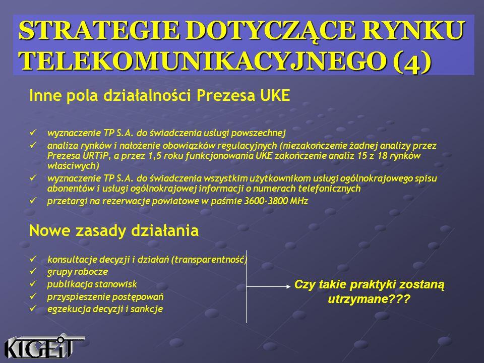 Inne pola działalności Prezesa UKE wyznaczenie TP S.A.