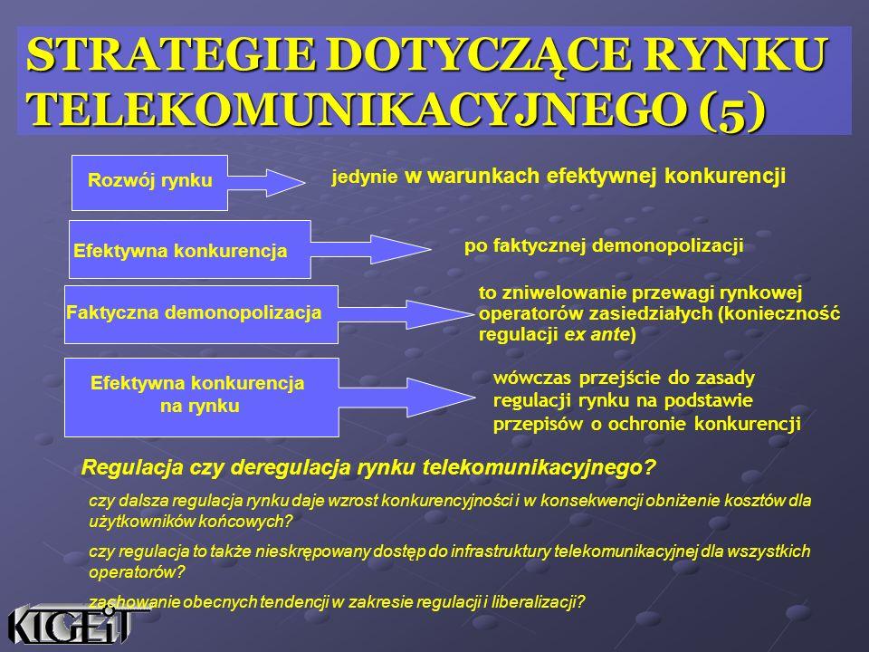 wówczas przejście do zasady regulacji rynku na podstawie przepisów o ochronie konkurencji jedynie w warunkach efektywnej konkurencji po faktycznej dem