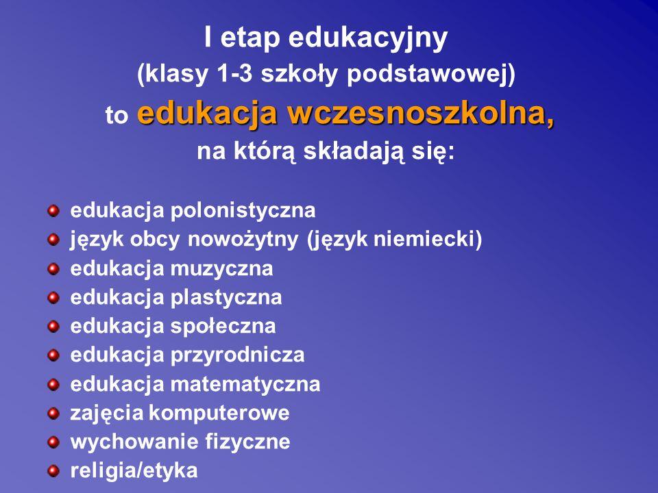 I etap edukacyjny (klasy 1-3 szkoły podstawowej) edukacja wczesnoszkolna, to edukacja wczesnoszkolna, na którą składają się: edukacja polonistyczna ję