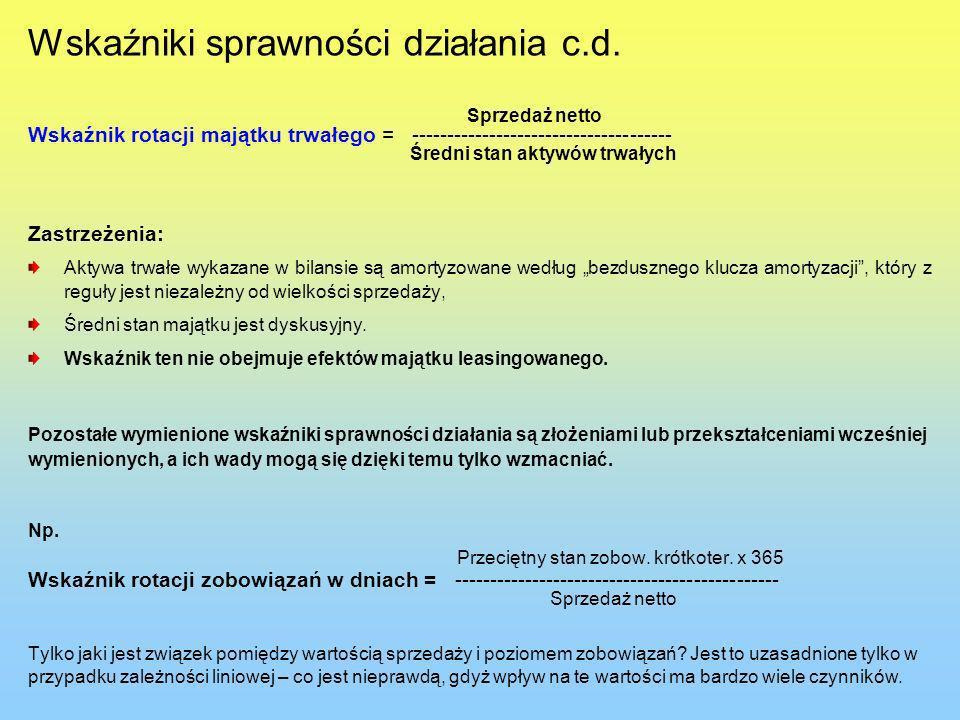 Wskaźniki sprawności działania c.d. Sprzedaż netto Wskaźnik rotacji majątku trwałego = ------------------------------------- Średni stan aktywów trwał