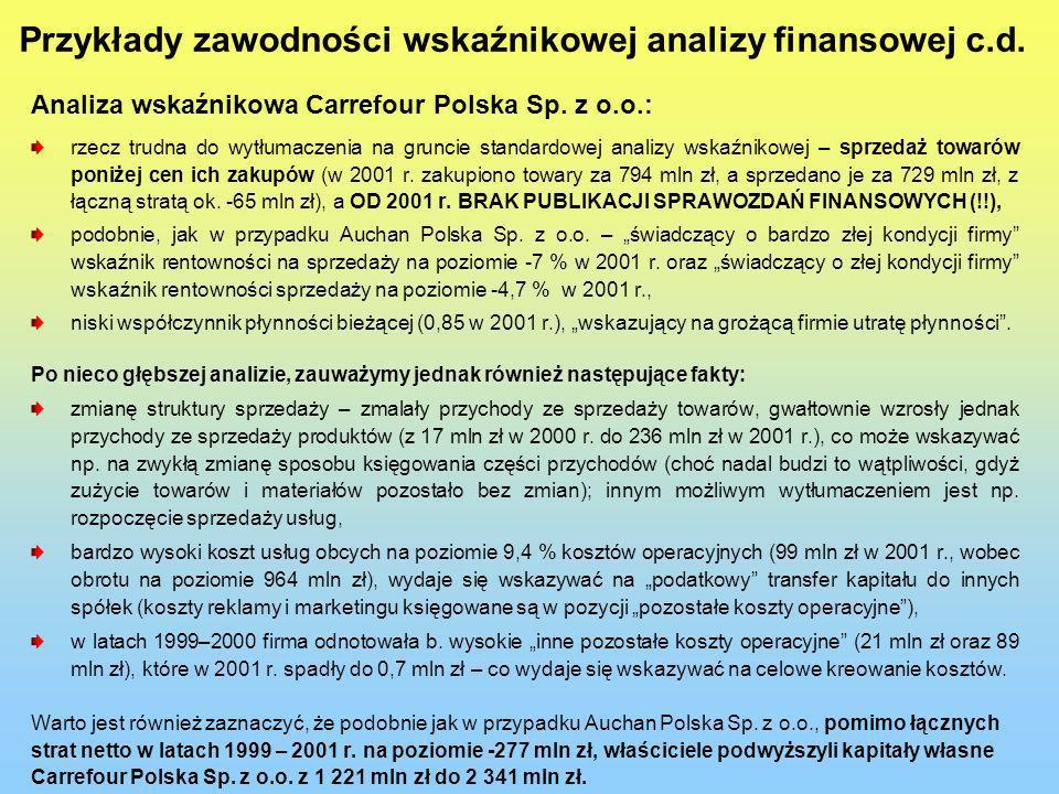 Przykłady zawodności wskaźnikowej analizy finansowej c.d. Analiza wskaźnikowa Carrefour Polska Sp. z o.o.: rzecz trudna do wytłumaczenia na gruncie st