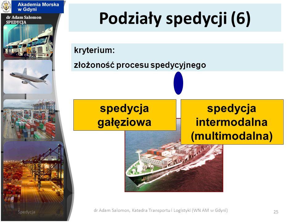 dr Adam Salomon SPEDYCJA Podziały spedycji (6) spedycja gałęziowa kryterium: złożoność procesu spedycyjnego spedycja intermodalna (multimodalna) Spedy