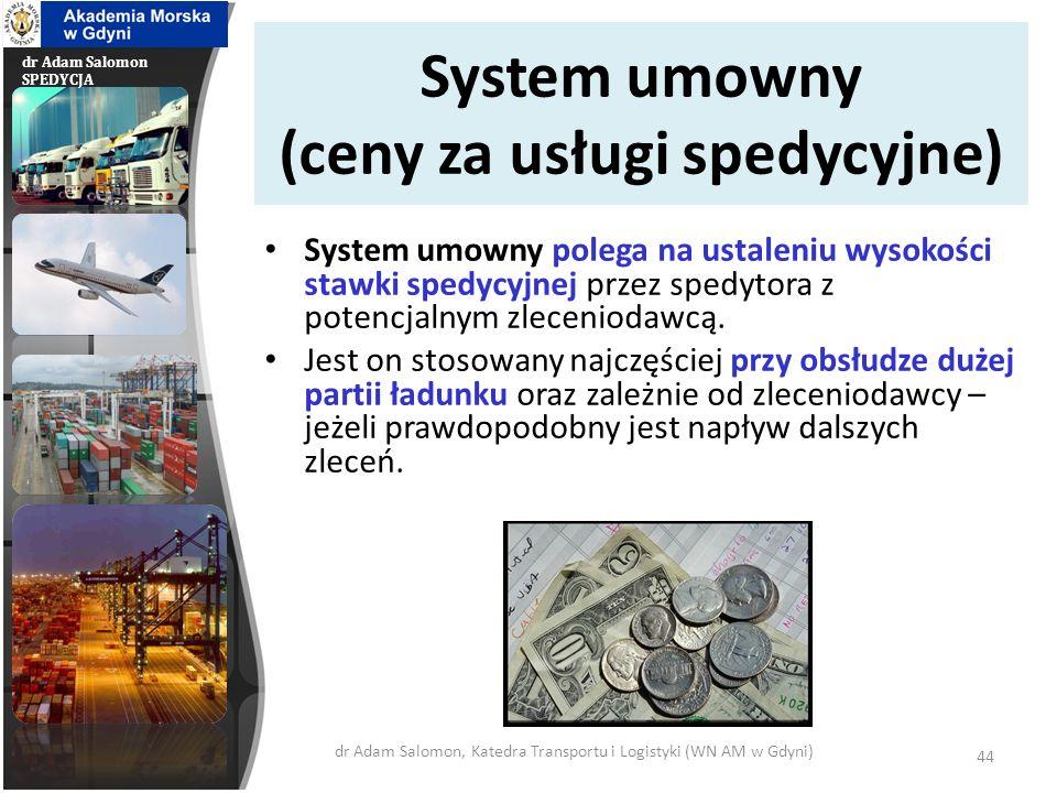dr Adam Salomon SPEDYCJA System umowny (ceny za usługi spedycyjne) System umowny polega na ustaleniu wysokości stawki spedycyjnej przez spedytora z po