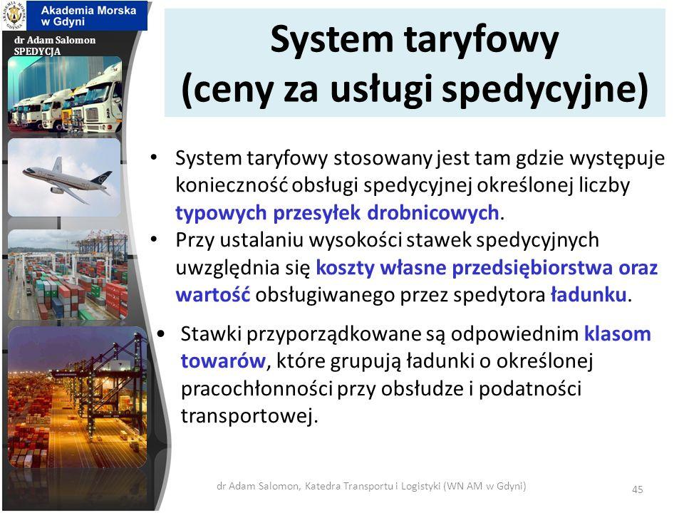 dr Adam Salomon SPEDYCJA System taryfowy (ceny za usługi spedycyjne) System taryfowy stosowany jest tam gdzie występuje konieczność obsługi spedycyjne
