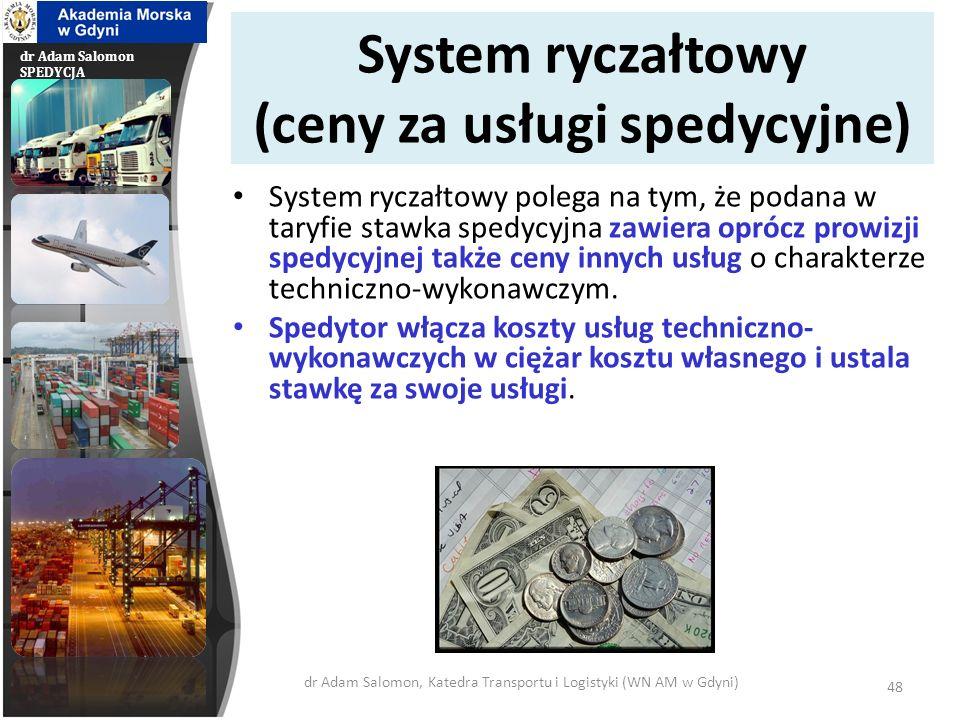 dr Adam Salomon SPEDYCJA System ryczałtowy (ceny za usługi spedycyjne) System ryczałtowy polega na tym, że podana w taryfie stawka spedycyjna zawiera