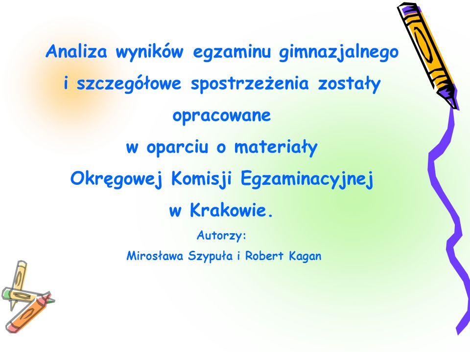 Analiza wyników egzaminu gimnazjalnego i szczegółowe spostrzeżenia zostały opracowane w oparciu o materiały Okręgowej Komisji Egzaminacyjnej w Krakowi