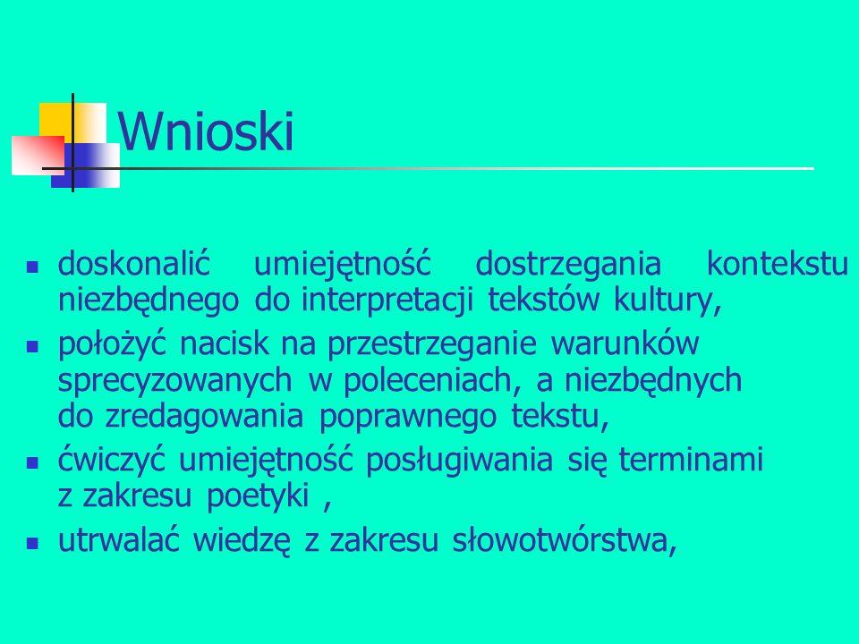 Wnioski doskonalić umiejętność dostrzegania kontekstu niezbędnego do interpretacji tekstów kultury, położyć nacisk na przestrzeganie warunków sprecyzowanych w poleceniach, a niezbędnych do zredagowania poprawnego tekstu, ćwiczyć umiejętność posługiwania się terminami z zakresu poetyki, utrwalać wiedzę z zakresu słowotwórstwa,