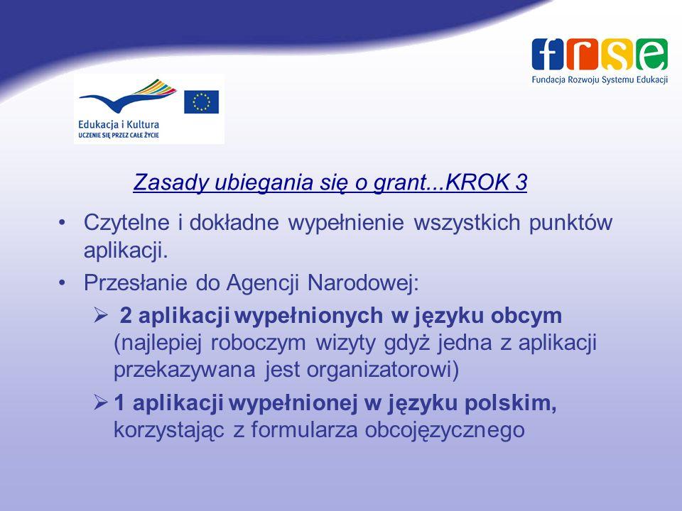 Zasady ubiegania się o grant...KROK 3 Czytelne i dokładne wypełnienie wszystkich punktów aplikacji.