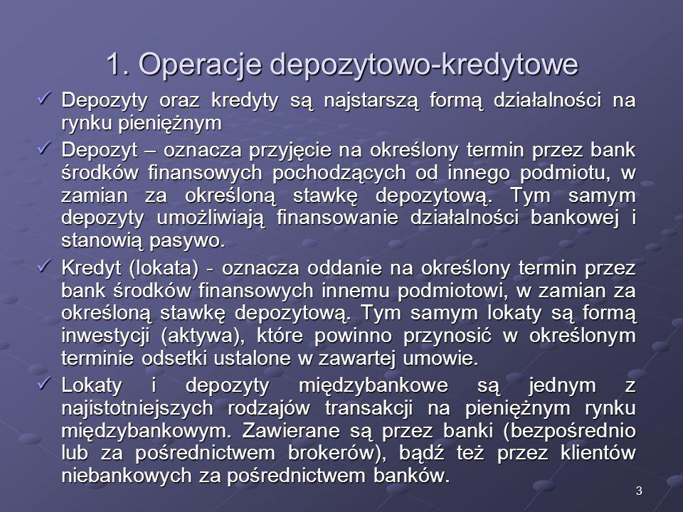 2 Struktura wykładu 1.Operacje depozytowe-kredytowo – najstarszy rodzaj działań na rynku pieniądza 2.Lokaty i depozyty międzybankowe 3.Kształtowanie s