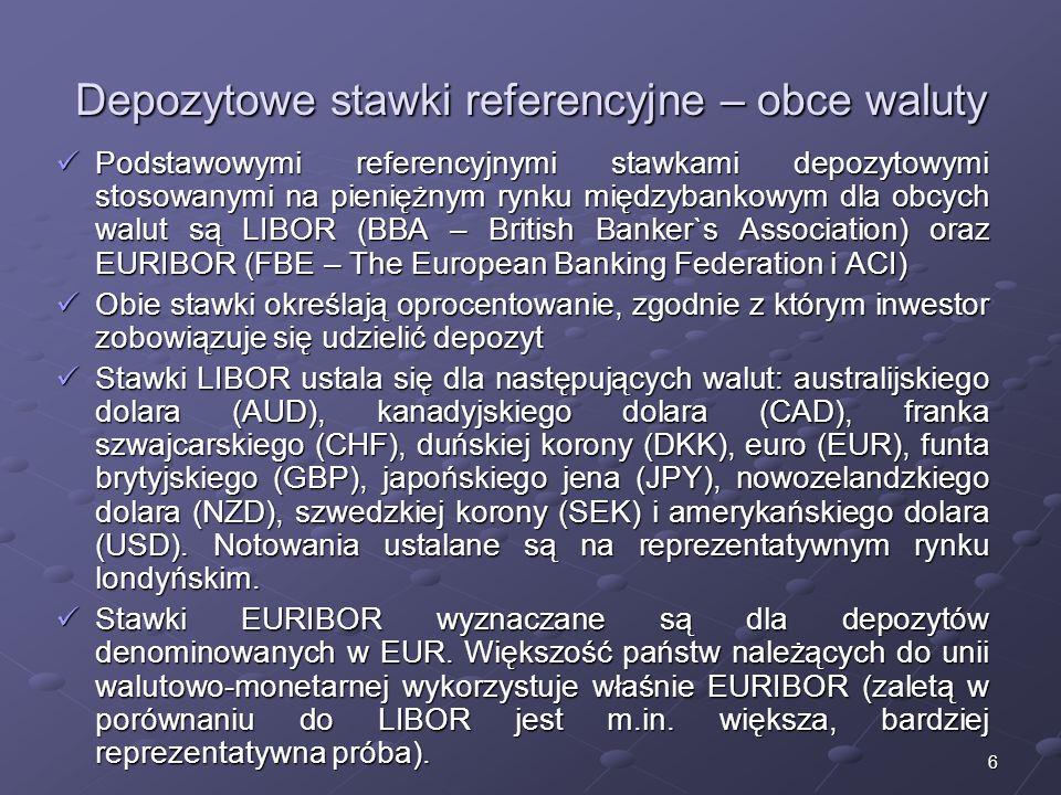 6 Depozytowe stawki referencyjne – obce waluty Podstawowymi referencyjnymi stawkami depozytowymi stosowanymi na pieniężnym rynku międzybankowym dla obcych walut są LIBOR (BBA – British Banker`s Association) oraz EURIBOR (FBE – The European Banking Federation i ACI) Podstawowymi referencyjnymi stawkami depozytowymi stosowanymi na pieniężnym rynku międzybankowym dla obcych walut są LIBOR (BBA – British Banker`s Association) oraz EURIBOR (FBE – The European Banking Federation i ACI) Obie stawki określają oprocentowanie, zgodnie z którym inwestor zobowiązuje się udzielić depozyt Obie stawki określają oprocentowanie, zgodnie z którym inwestor zobowiązuje się udzielić depozyt Stawki LIBOR ustala się dla następujących walut: australijskiego dolara (AUD), kanadyjskiego dolara (CAD), franka szwajcarskiego (CHF), duńskiej korony (DKK), euro (EUR), funta brytyjskiego (GBP), japońskiego jena (JPY), nowozelandzkiego dolara (NZD), szwedzkiej korony (SEK) i amerykańskiego dolara (USD).