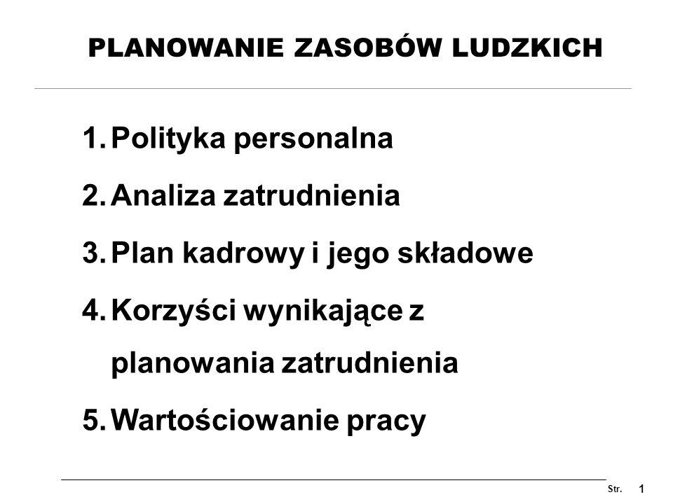 Str. 1 PLANOWANIE ZASOBÓW LUDZKICH 1.Polityka personalna 2.Analiza zatrudnienia 3.Plan kadrowy i jego składowe 4.Korzyści wynikające z planowania zatr