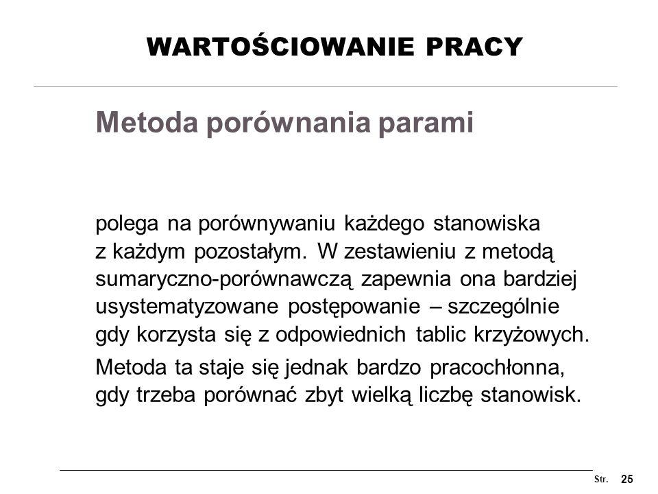 Str. 25 WARTOŚCIOWANIE PRACY polega na porównywaniu każdego stanowiska z każdym pozostałym. W zestawieniu z metodą sumaryczno-porównawczą zapewnia ona