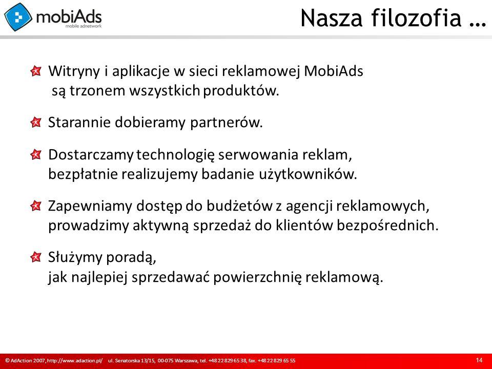 Nasza filozofia … 14 © AdAction 2007, http://www.adaction.pl/ ul.