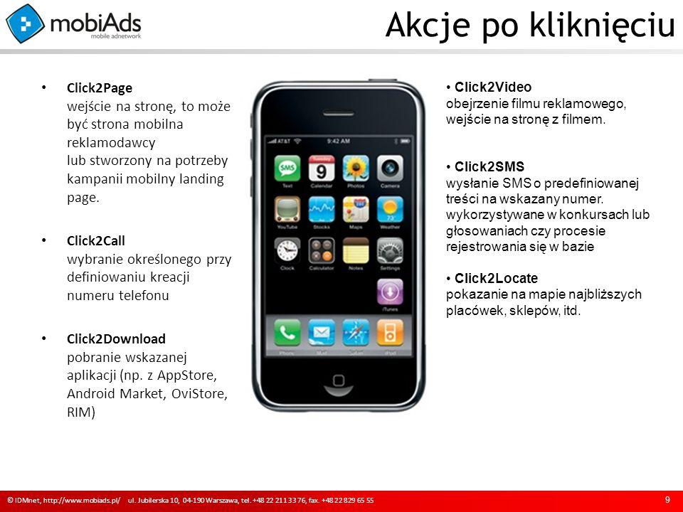 Akcje po kliknięciu Click2Page wejście na stronę, to może być strona mobilna reklamodawcy lub stworzony na potrzeby kampanii mobilny landing page.