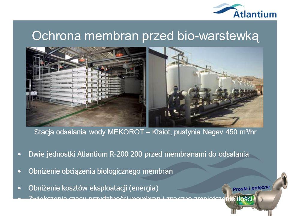 Prosta i potężna Ochrona membran przed bio-warstewką Stacja odsalania wody MEKOROT – Ktsiot, pustynia Negev 450 m³/hr Dwie jednostki Atlantium R-200 2