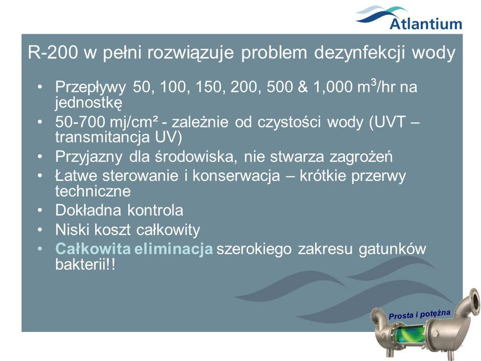 Prosta i potężna R-200 w pełni rozwiązuje problem dezynfekcji wody Przepływy 50, 100, 150, 200, 500 & 1,000 m 3 /hr na jednostkę 50-700 mj/cm² - zależ