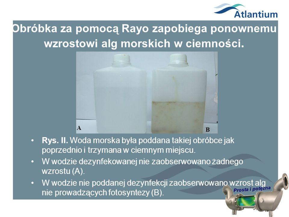 Prosta i potężna Obróbka za pomocą Rayo zapobiega ponownemu wzrostowi alg morskich w ciemności. Rys. II. Woda morska była poddana takiej obróbce jak p
