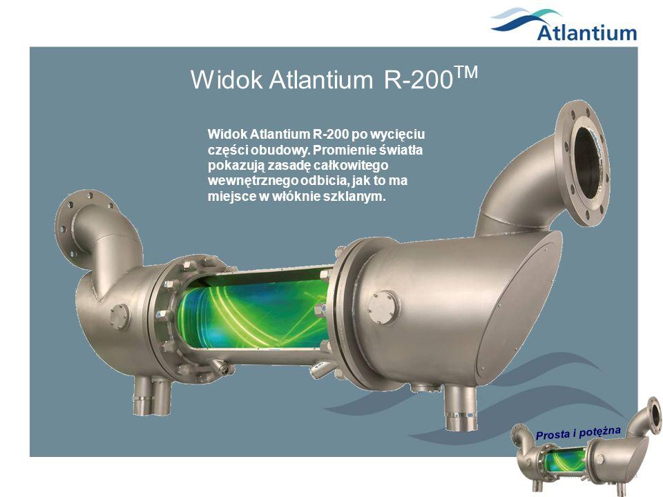 Prosta i potężna Widok Atlantium R-200 TM Widok Atlantium R-200 po wycięciu części obudowy. Promienie światła pokazują zasadę całkowitego wewnętrznego