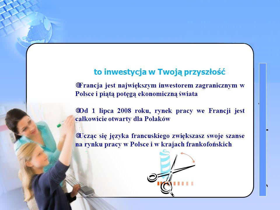 1 Znajomość języka francuskiego to inwestycja w Twoją przyszłość Francja jest największym inwestorem zagranicznym w Polsce i piątą potęgą ekonomiczną świata Od 1 lipca 2008 roku, rynek pracy we Francji jest całkowicie otwarty dla Polaków Ucząc się języka francuskiego zwiększasz swoje szanse na rynku pracy w Polsce i w krajach frankofońskich