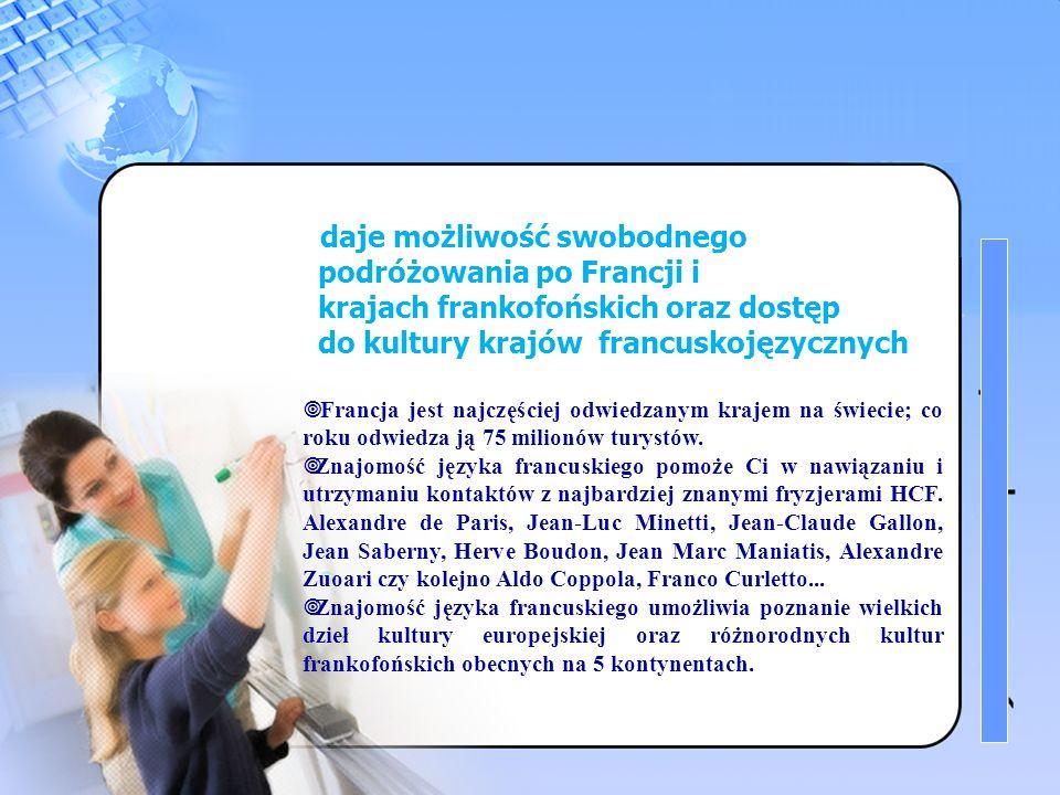 3 Znajomość języka francuskiego daje możliwość swobodnego podróżowania po Francji i krajach frankofońskich oraz dostęp do kultury krajów francuskojęzycznych Francja jest najczęściej odwiedzanym krajem na świecie; co roku odwiedza ją 75 milionów turystów.