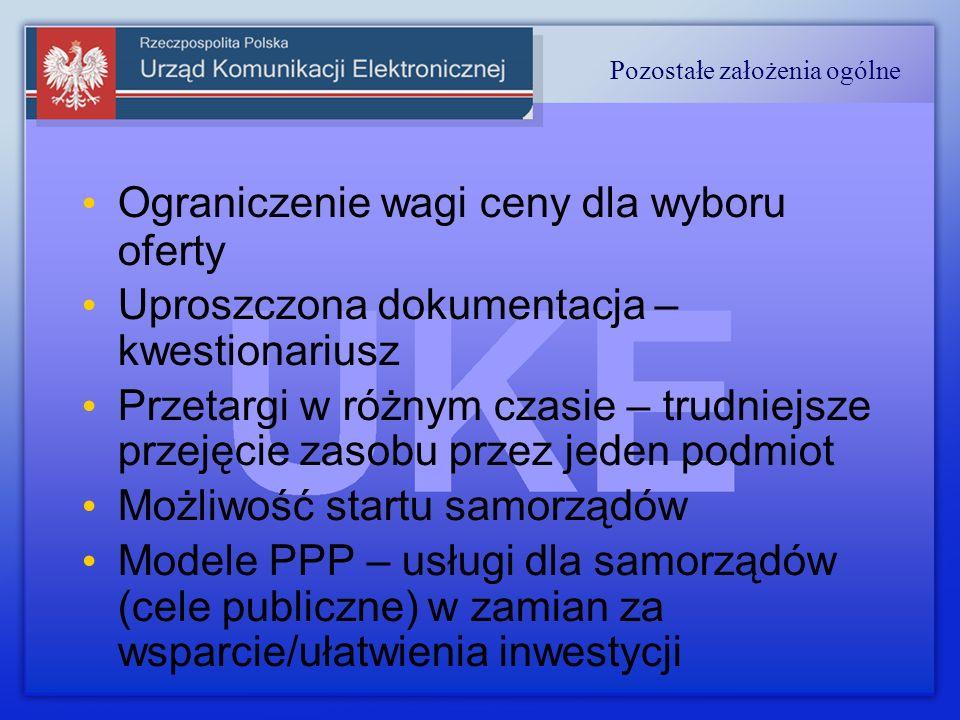 Ograniczenie wagi ceny dla wyboru oferty Uproszczona dokumentacja – kwestionariusz Przetargi w różnym czasie – trudniejsze przejęcie zasobu przez jeden podmiot Możliwość startu samorządów Modele PPP – usługi dla samorządów (cele publiczne) w zamian za wsparcie/ułatwienia inwestycji Pozostałe założenia ogólne