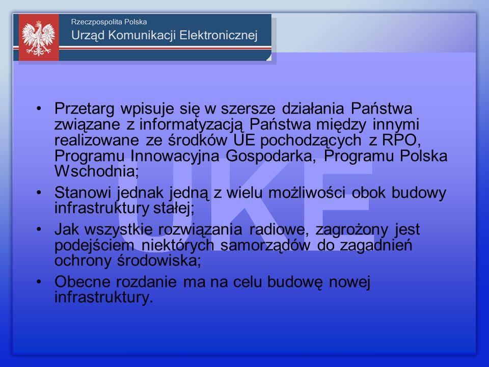 Przetarg wpisuje się w szersze działania Państwa związane z informatyzacją Państwa między innymi realizowane ze środków UE pochodzących z RPO, Programu Innowacyjna Gospodarka, Programu Polska Wschodnia; Stanowi jednak jedną z wielu możliwości obok budowy infrastruktury stałej; Jak wszystkie rozwiązania radiowe, zagrożony jest podejściem niektórych samorządów do zagadnień ochrony środowiska; Obecne rozdanie ma na celu budowę nowej infrastruktury.
