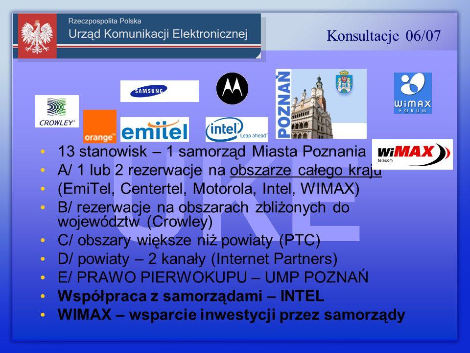 13 stanowisk – 1 samorząd Miasta Poznania A/ 1 lub 2 rezerwacje na obszarze całego kraju (EmiTel, Centertel, Motorola, Intel, WIMAX) B/ rezerwacje na obszarach zbliżonych do województw (Crowley) C/ obszary większe niż powiaty (PTC) D/ powiaty – 2 kanały (Internet Partners) E/ PRAWO PIERWOKUPU – UMP POZNAŃ Współpraca z samorządami – INTEL WIMAX – wsparcie inwestycji przez samorządy Konsultacje 06/07