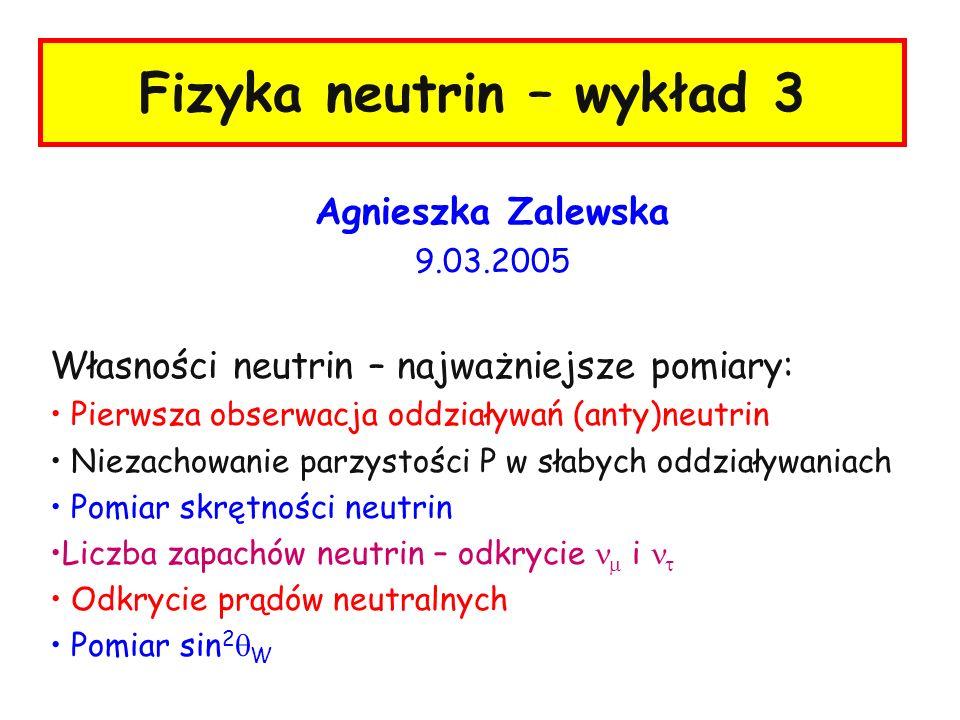 Fizyka neutrin – wykład 3 Agnieszka Zalewska 9.03.2005 Własności neutrin – najważniejsze pomiary: Pierwsza obserwacja oddziaływań (anty)neutrin Niezac