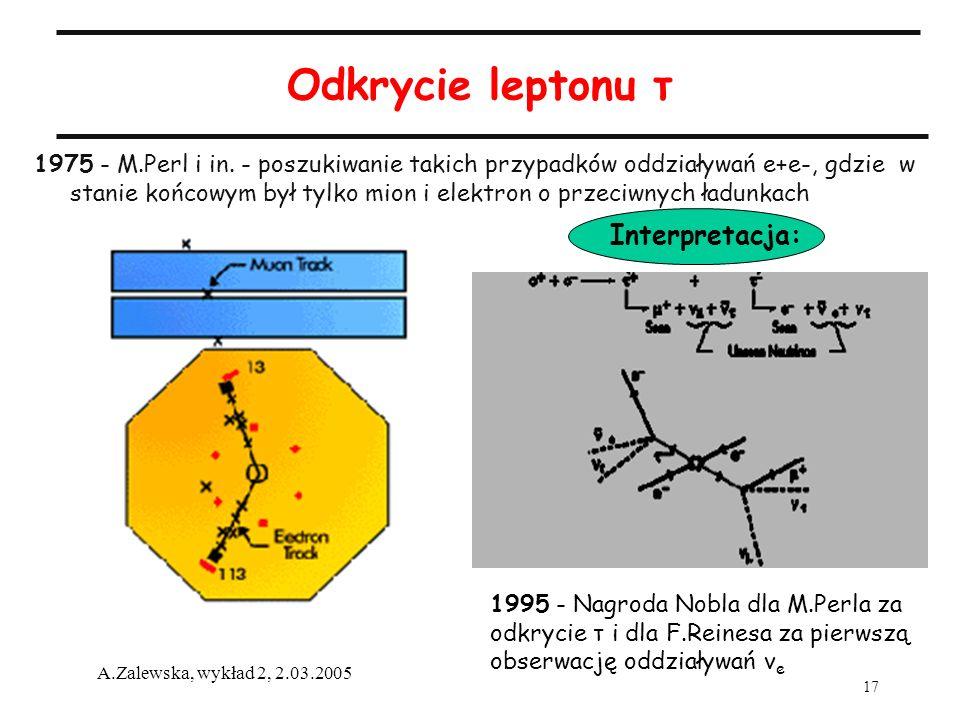 17 A.Zalewska, wykład 2, 2.03.2005 Odkrycie leptonu τ 1975 - M.Perl i in. - poszukiwanie takich przypadków oddziaływań e+e-, gdzie w stanie końcowym b
