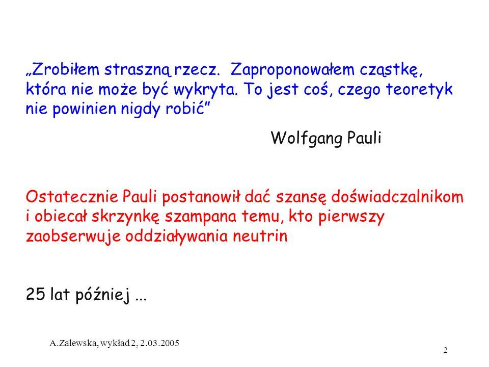 2 A.Zalewska, wykład 2, 2.03.2005 Zrobiłem straszną rzecz. Zaproponowałem cząstkę, która nie może być wykryta. To jest coś, czego teoretyk nie powinie