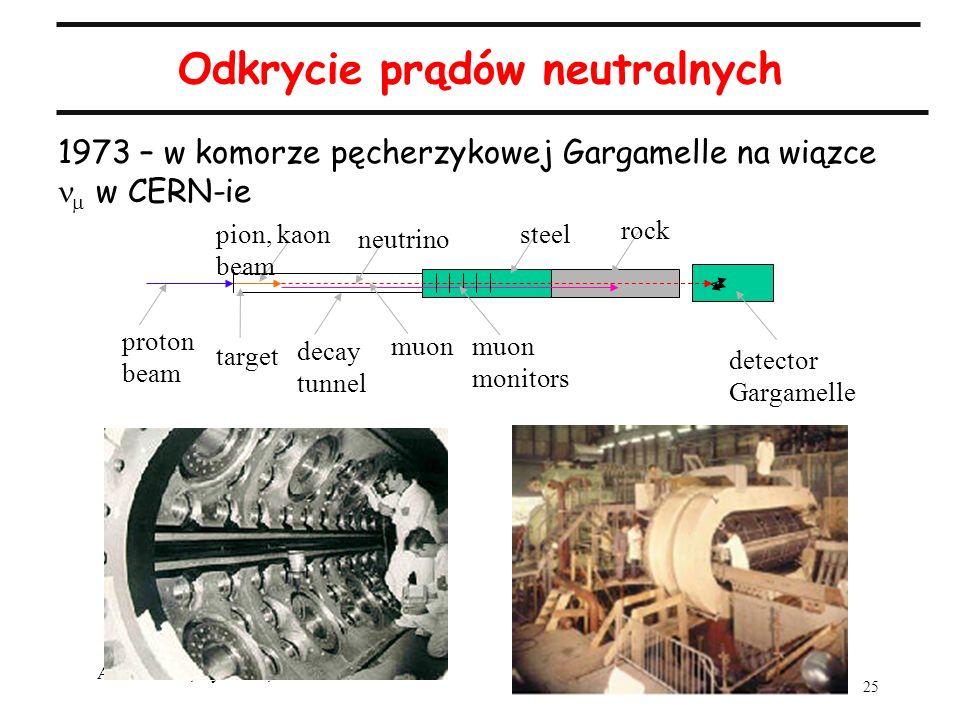 25 A.Zalewska, wykład 2, 2.03.2005 Odkrycie prądów neutralnych 1973 – w komorze pęcherzykowej Gargamelle na wiązce w CERN-ie proton beam target pion,