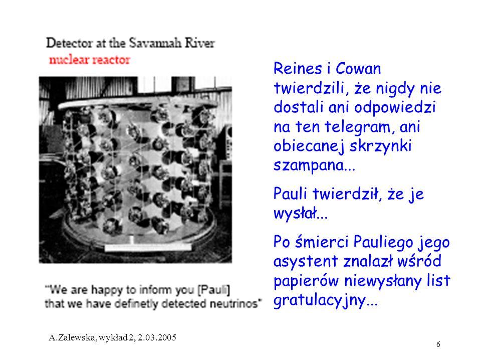 6 A.Zalewska, wykład 2, 2.03.2005 Reines i Cowan twierdzili, że nigdy nie dostali ani odpowiedzi na ten telegram, ani obiecanej skrzynki szampana... P
