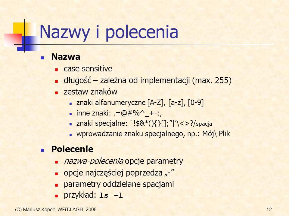 (C) Mariusz Kopeć, WFiTJ AGH, 200812 Nazwy i polecenia Nazwa case sensitive długość – zależna od implementacji (max. 255) zestaw znaków znaki alfanume