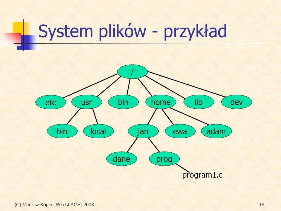 (C) Mariusz Kopeć, WFiTJ AGH, 200818 System plików - przykład / etc usrbinhomelibdev janewaadamlocalbin daneprog program1.c